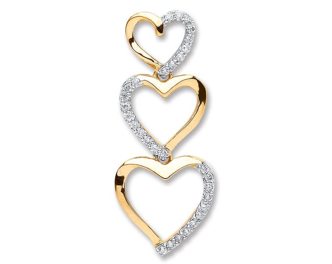 9ct Yellow Gold 0.15ct Diamond Trilogy Heart Drop Pendant 25x10mm