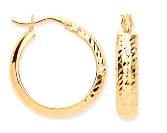 9ct Yellow Gold Half Diamond Cut D-Shape Hoop Earrings 15mm 20mm 25mm - Real 9K Gold