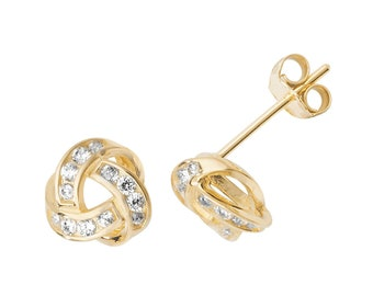 9ct Yellow Gold 6mm Cz Channel Set Twisted Knot Stud Earrings - Real 9K Gold