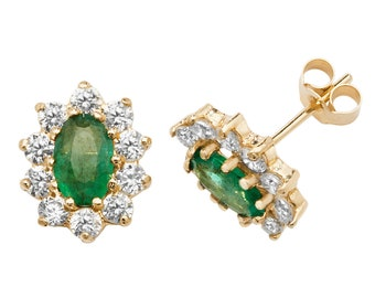 Real Oval Emerald & Brilliant Cz Cluster Stud Earrings Crafted in 9ct Yellow Gold