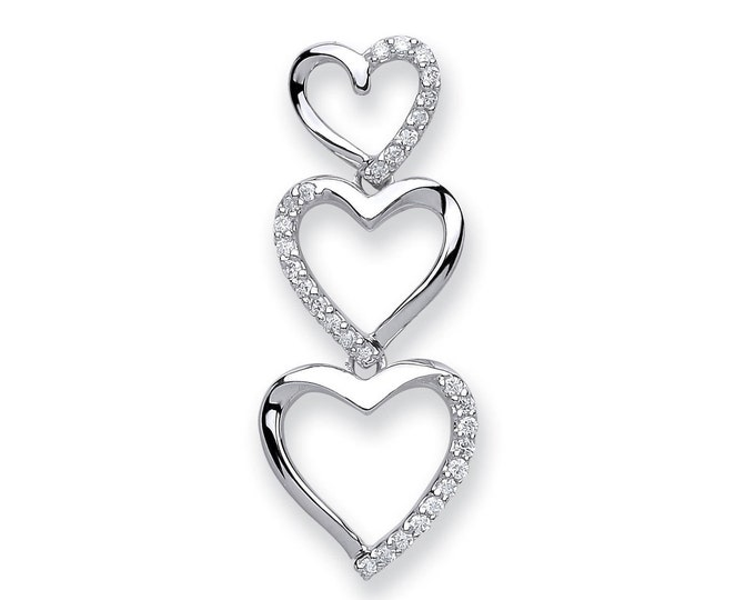 9ct White Gold 0.15ct Diamond Trilogy Heart Drop Pendant 25x10mm
