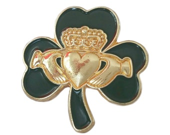 Irish Claddagh Gold Crowned Heart 2.5cm Lucky Shamrock Lapel Pin Badge St Patricks Day 2021
