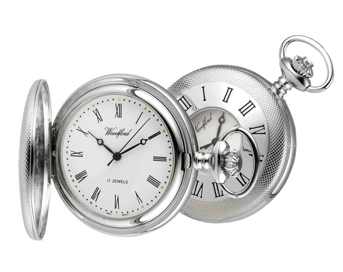 Woodford Chrome 17 Jewel Mechanical Half Hunter Pocket Watch - Personalised Engraved Message