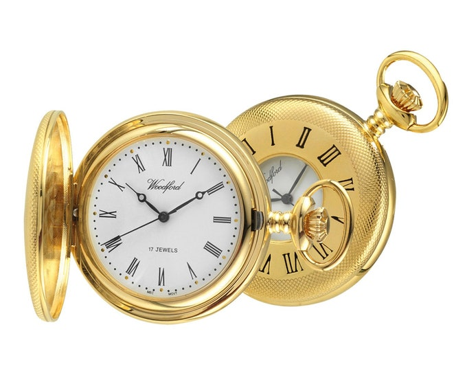Woodford Gold Plated 17 Jewel Mechanical Half Hunter Pocket Watch - Personalised Engraved Message