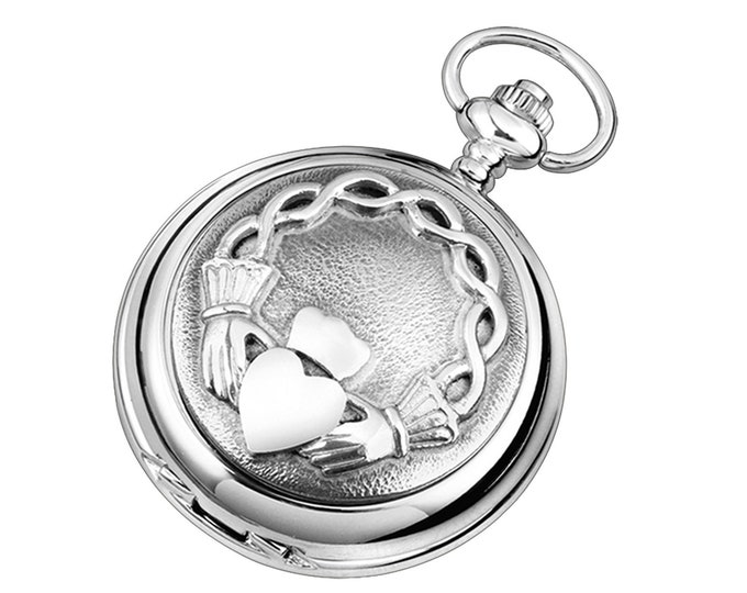Irish Claddagh Hunter Chrome & Pewter Pocket Watch - Personalised Engraved Message