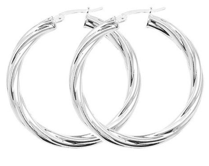 Chunky 925 Sterling Silver 4mm Hollow Tube Twisted Hoop Earrings - choice of sizes