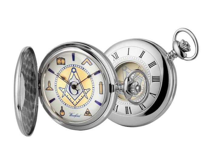 Masonic Chrome Half Hunter Pocket Watch 17 Jewel Movement Personalised Engraved Message