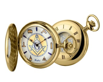 Masonic Gold Plated Half Hunter Pocket Watch 17 Jewel Movement Personalised Engraved Message