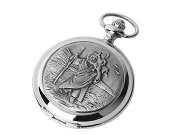 St Christopher Quartz or Skeleton Chrome & Pewter Pocket Watch - Personalised Engraved Message