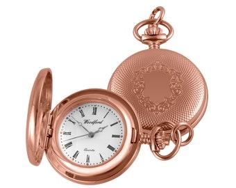 "Ladies Full Hunter Quartz Pendant 28"" Necklace Watch - Rose Gold or Chrome"