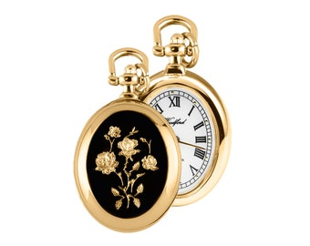 Ladies Gold Plated Open Face Flower Pendant Oval Shaped Watch