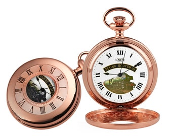 Flying Scotsman Rose Gold Plated Half Hunter Pocket Watch - Personalised Engraved Message