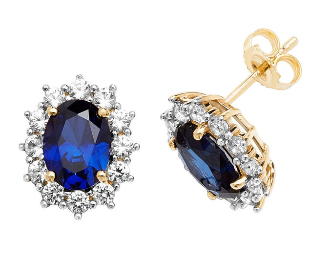 9ct Yellow Gold Oval Created Blue Sapphire With White Sapphire Cluster Stud Earrings - Real 9K Gold