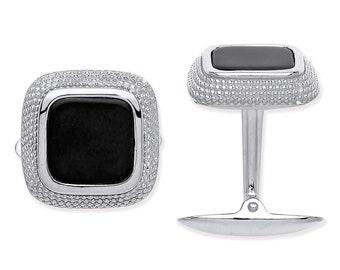 925 Solid Sterling Silver Black Cushion Onyx Cufflinks Hallmarked - Engraved Gift Box