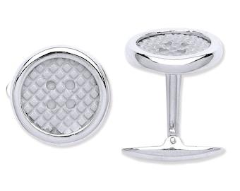 925 Solid Sterling Silver Round Button Design Cufflinks Hallmarked