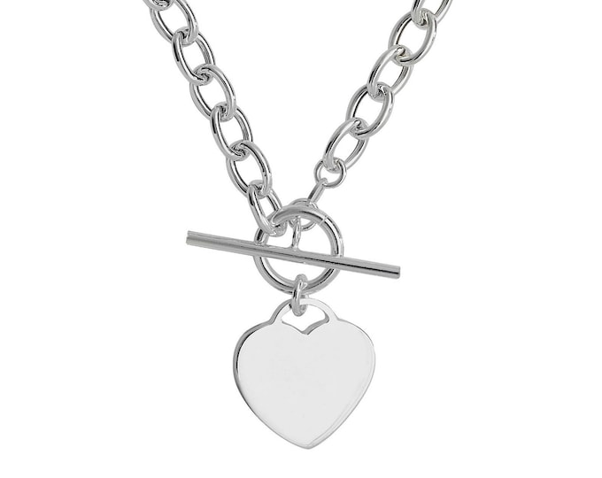 """925 Sterling Silver 14mm Heart Tag Charm T-Bar 17"""" Albert Chain Necklace Hallmarked"""