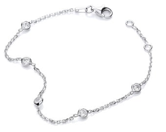 "925 Sterling Silver Rubover Bezel Set  Cz Ladies 7"" Chain Bracelet Rose-Gold-Silver"