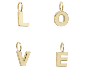 9ct Yellow Gold Small 6mm Block Capital  3D Initial Pendants Letters A-Z - Real 9K Gold