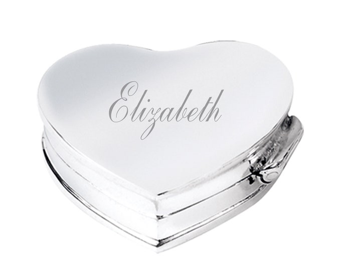 Personalised Engraved 925 Sterling Silver 2.3cm Heart Shaped Hinged Pill Box