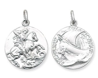 925 Sterling Silver 20mm St George & Dragon Medallion Charm Pendant