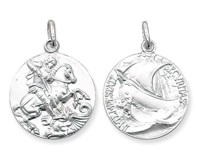 925 Sterling Silver 20mm St George & Dragon Medallion Charm Pendant