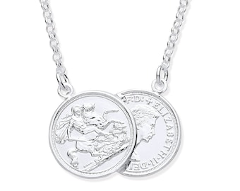 """Queen Elizabeth & St George Double Sovereign 15mm Coin 17"""" Necklace 925 Sterling Silver"""