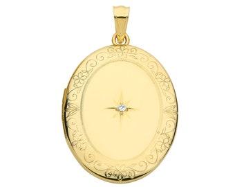 9ct Yellow Gold 25x20mm Oval Shaped Single Diamond Locket Engraved Border - Real 9K Gold