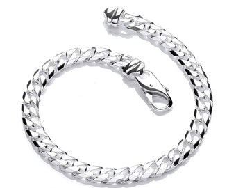 """Ladies Solid 925 Sterling Silver 7.5"""" Chunky Curb Chain Bracelet Hallmarked"""