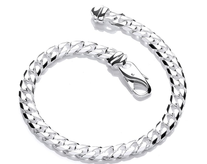 "Ladies Solid 925 Sterling Silver 7.5"" Chunky Curb Chain Bracelet Hallmarked"