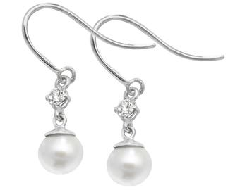 9ct Gold Cubic Zirconia & Freshwater Pearl Hook Drop Earrings