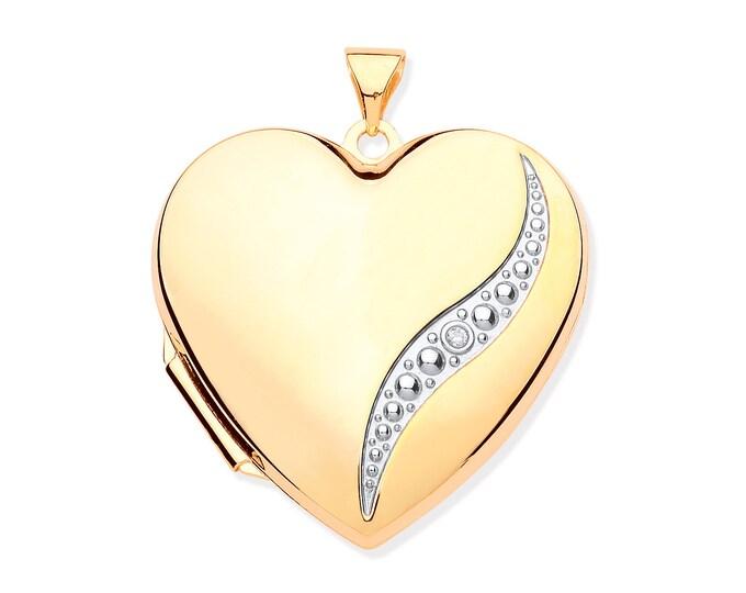 Large 9ct Yellow Gold Single Diamond Heart Shaped 2 Photo Bubble Wave Locket 25x25mm