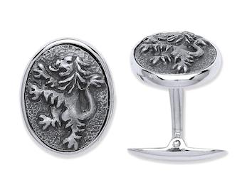 925 Solid Sterling Silver Lion Rampant Design Cufflinks Hallmarked