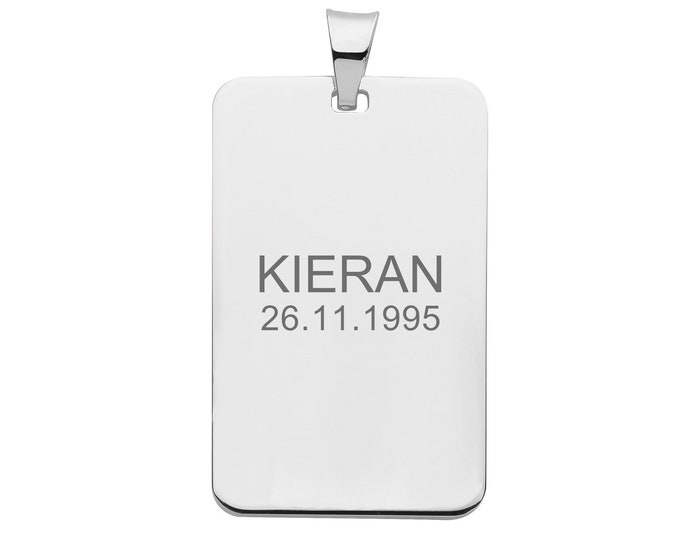 Personalised 925 Silver Rectangular 3x1.9cm Rectangular Tag Pendant - Customised Engraved Name Initials