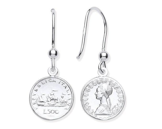 Sterling Silver 500 Lira Repvbblica Italiana 12mm Coin Drop Hook Earrings