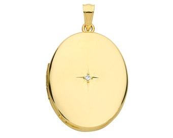 9ct Yellow Gold 25x20mm Oval Shaped 2 Photo Locket Set With Single Diamond - Real 9K Gold
