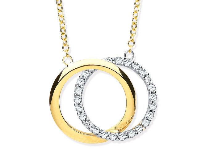 "Linked Circle of Life 16""-18"" Necklace 9ct Yellow Gold Pave Cz Stones"