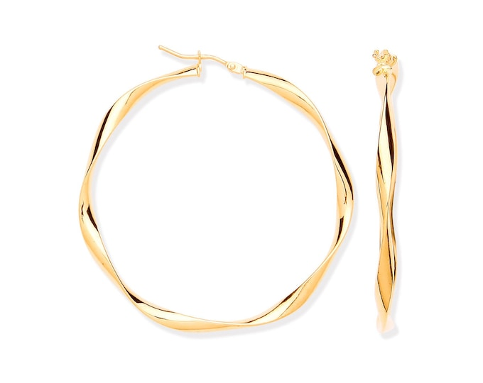 Large 45mm Diameter 9ct Yellow Gold Twisted Ribbon Hoop Earrings Hallmarked
