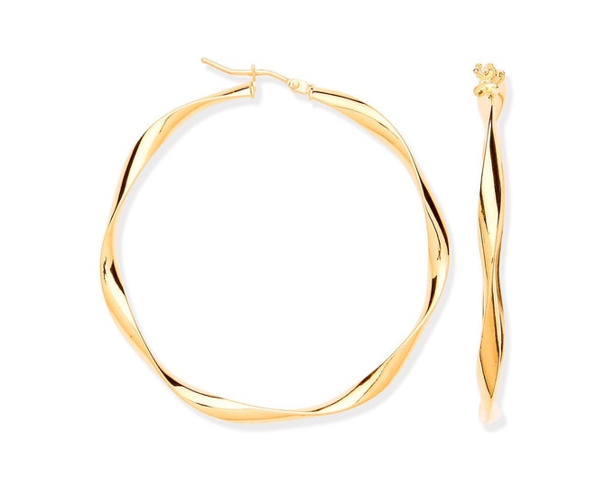 Large 45mm Diameter 9ct Yellow Gold Twisted Ribbon Hoop Earrings Hallmarked - Real 9K Gold