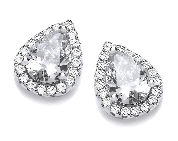 Rhodium Plated 925 Sterling Silver Teardrop Cluster Pear Cut Cz Stud Earrings