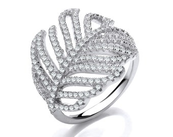 Ladies Contemporary Pave Set Cz Feather Design Ring 925 Sterling Silver