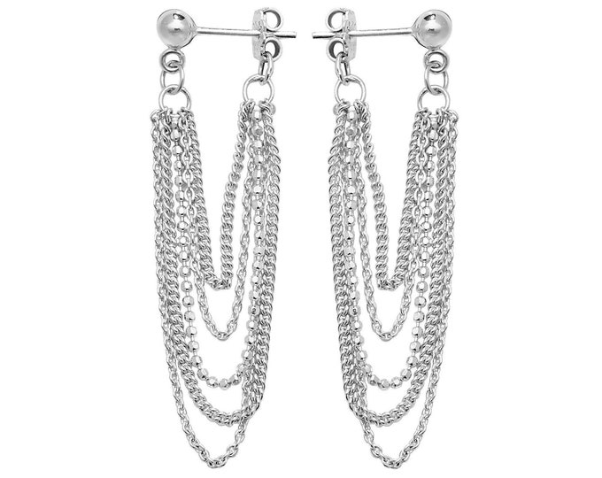 925 Sterling Silver 45mm Five Strand Beaded Curb & Rope Chain Drop Earrings