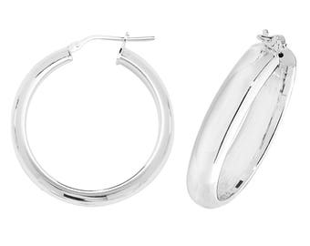 Sterling Silver Plain D Shaped Hoop Earrings  - 12mm 15mm 20mm 25mm 30mm