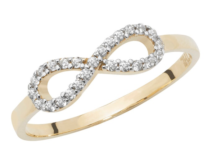 Ladies 9ct Yellow Gold Pave Cz Infinity Bow Ring Hallmarked 375 - Real 9K Gold
