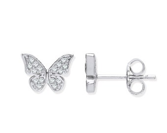 925 Sterling Silver Small 8x6mm Butterfly Stud Earrings