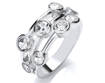 Contemporary 3 Row Bezel Rubover Set Round Cut Cz Ring 925 Sterling Silver