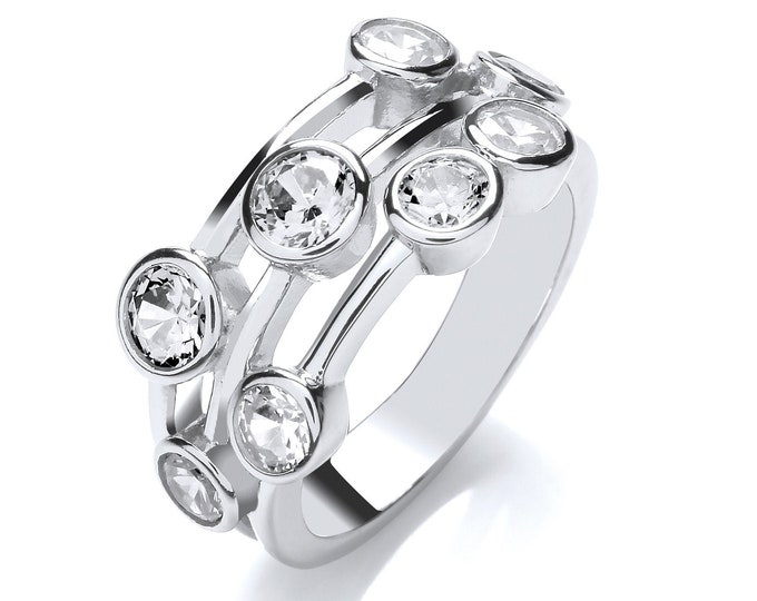 Contemporary 3 Row Rubover Set Round Cut Cz Ring 925 Sterling Silver