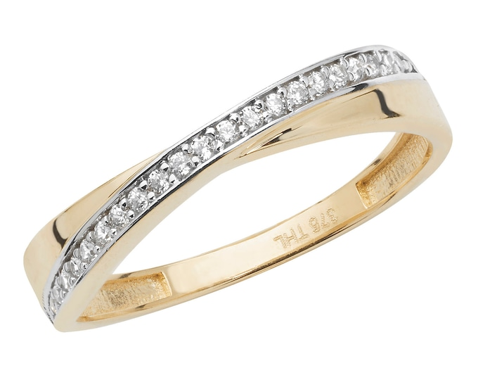 9ct Yellow Gold 3mm Grain Set Cz Crossover Eternity Ring