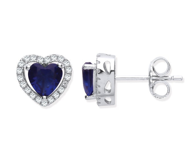 Sterling Silver 7mm Sapphire Blue Cz Halo Heart Stud Earrings