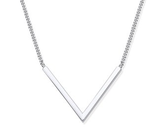 """925 Silver Contemporary V Shaped Bar on 17"""" Necklace"""