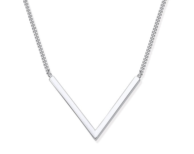 "925 Silver Contemporary V Shaped Bar on 17"" Necklace"